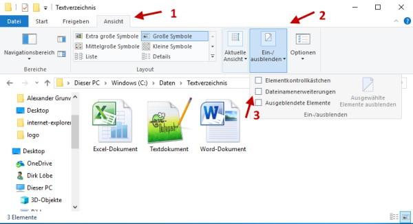 Dateiendungen in Windows 10 anzeigen lassen